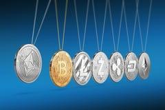 La moneda de Ethereum en cuna del ` s de Newton impulsa y acelera otros cryptocurrencies y hacia adelante y hacia atrás stock de ilustración