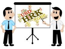 La moneda de Hrk significa Croacia Kunas y monedas stock de ilustración