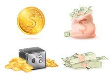 La moneda de oro con la muestra de dólar, despide la caja fuerte llena del dinero Fotos de archivo libres de regalías