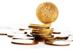La moneda de la rublo rusa Imagenes de archivo