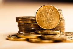 La moneda de la rublo rusa Imágenes de archivo libres de regalías