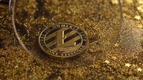 La moneda debajo de la lupa pertenece a la macro virtual de la moneda de Litecoin almacen de metraje de vídeo