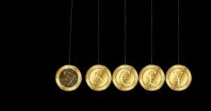 La moneda del cryptocurrency de Tron TRX se rompe sobre las monedas principales del mundo ilustración del vector