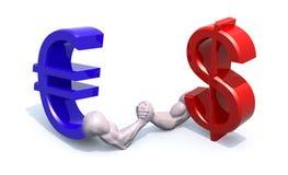 La moneda del símbolo del euro y del dólar hace pulso Imagen de archivo