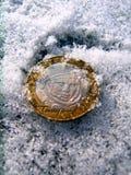 La moneda en la nieve Fotos de archivo