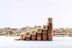 La moneda euro acuña la formación de una escala con los cubos de madera que terminan la renta de la palabra Foto de archivo libre de regalías
