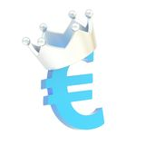 La moneda euro firma adentro una corona Foto de archivo