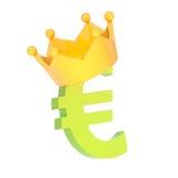 La moneda euro firma adentro una corona Fotografía de archivo libre de regalías