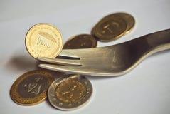 La moneda focuIranian selectiva le gusta un símbolo de la capacidad del consumidor Fotografía de archivo
