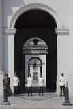 La Moneda Palace Arches and Guards, Santiago Royalty Free Stock Photos