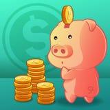 La moneda se está poniendo en la hucha libre illustration