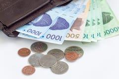 La moneda surcoreana de diverso valor cerca de una cartera, ahorra su concepto del dinero Foto de archivo