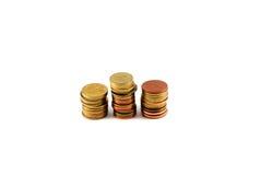 La moneda tailandesa arregla la fila tres Foto de archivo libre de regalías
