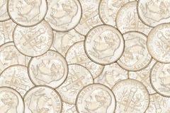La moneta da dieci centesimi di dollaro conia il fondo Fotografia Stock