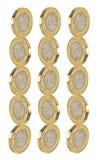 La moneta di libbra dell'oro impila i contanti dei soldi dei mucchi immagine stock libera da diritti