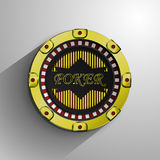 La moneta dorata decorativa del casinò Fotografie Stock