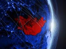 La Mongolia su terra digitale blu blu fotografia stock