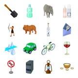 La Mongolia, trasporto, computer, rocce e l'altra icona di web nello stile del fumetto Esercito, odontoiatria, icone della minier Illustrazione Vettoriale