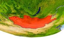 La Mongolie en rouge sur le modèle de la terre Photographie stock libre de droits