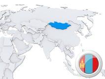 La Mongolie sur la carte de l'Asie illustration libre de droits