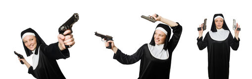 La monja con la arma de mano aislada en blanco Fotos de archivo libres de regalías