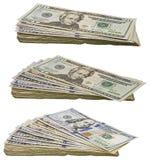 La monnaie fiduciaire américaine empile le collage de factures empilé par argent liquide d'isolement Photographie stock libre de droits