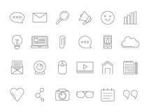 La mono línea imágenes fijó de los diversos símbolos para difundir, blogging y copyrighting stock de ilustración