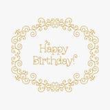 La mono linea arte del biglietto di auguri per il compleanno felice di stile allinea la struttura Fotografie Stock