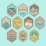 La montaña badges 1color linear Fotografía de archivo libre de regalías