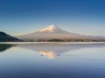 La montaña Fuji reflejó en el lago Kawaguchiko en un día soleado y un cielo claro Foto de archivo libre de regalías