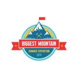 La montaña más grande - expedición 2014 del verano - Vector la insignia Fotos de archivo