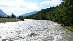La montagna Altai è il posto più bello nel mondo Fiume della montagna stock footage