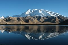 La montagna della neve del pamir Fotografie Stock