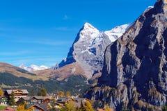 La montagna di Eiger delle alpi di Bernese nel Bernese Oberland o Immagine Stock Libera da Diritti