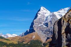 La montagna di Eiger delle alpi di Bernese nel Bernese Oberland o Fotografia Stock