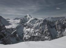 La montagna Triglav è il picco più alto in Slovenia fotografia stock