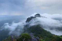 La montagne cachée par la brume Photo libre de droits