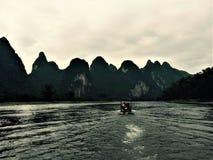 La montagne de sept soeurs dans la légende photo stock