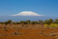 La montagne, l'Afrique, la Tanzanie et le Kenya de Kilimanjaro encadrent le parc national d'Amboseli photo libre de droits