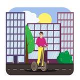 La monte d'homme segway dans la ville Affiche lumineuse de vecteur illustration stock