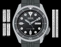 La montre du plongeur - gamme de gris Photo libre de droits