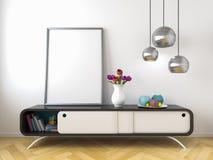La moquerie blanche d'intérieur de mur de raboteuse noire vers le haut de 3d rendent Photos libres de droits