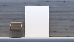 La moquerie minimale d'intérieur vers le haut de la galerie de cadre d'affiche/3d rendent l'image Photo stock