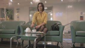 La morenita de la elegancia bebe té en el sofá almacen de metraje de vídeo