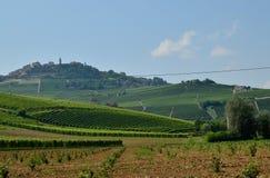 La Morra, Piedmont, Italien Juli 2018 arkivfoton