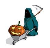 la mort avec pumpking fantasmagorique dans une brouette Photo stock