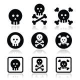 La mort, crâne avec des icônes d'os réglées Photo stock