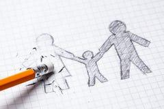 La mort de aimé est son épouse, veuf Perte de aimé Divorce et rupture des relations Père simple avec l'enfant Photographie stock libre de droits