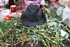 La mort de Michael Jackson. Réaction des ventilateurs de Moscou Photos stock