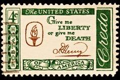 la mort me donnent à liberté slogan postal Photo libre de droits